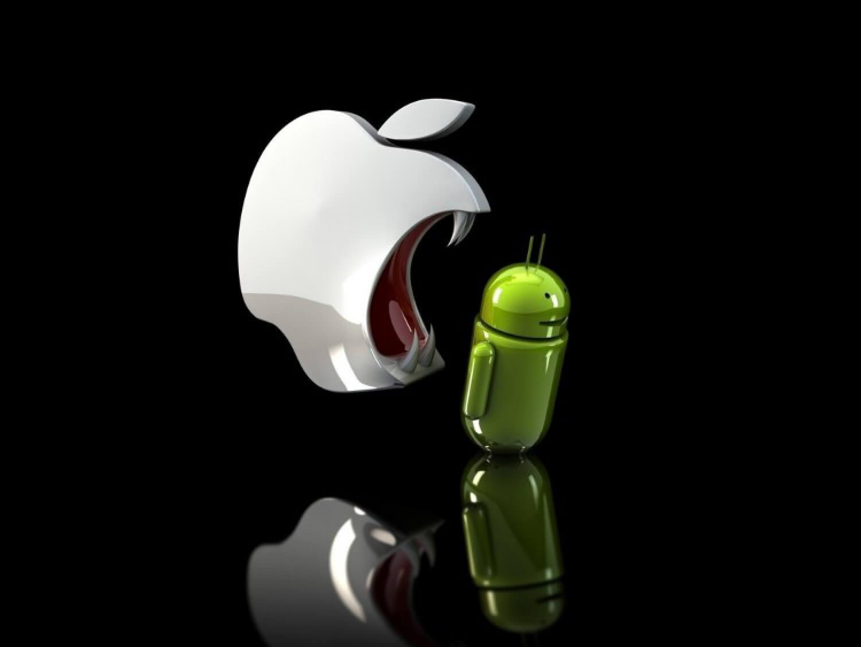 Яблоко и зеленый робот