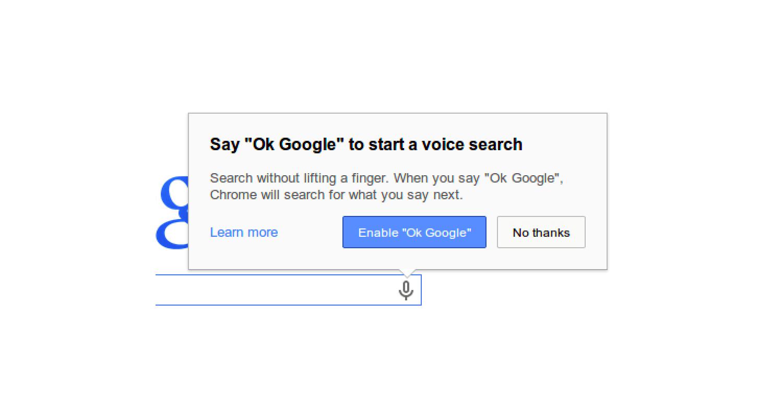 Активация голосового поиска в Chrome