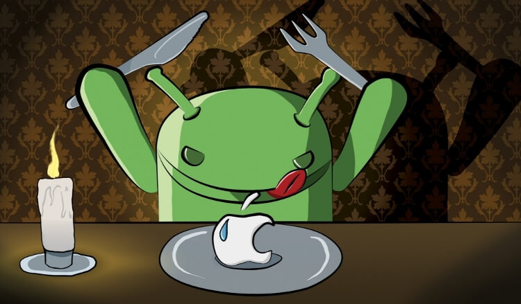 Android лакомится яблоком