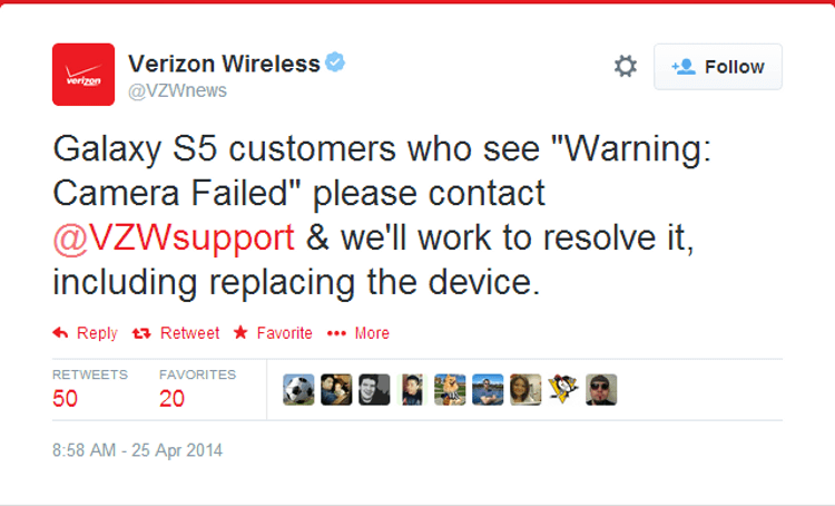 Обращение Verizon к пользователям Galaxy S5, столкнувшимся со сбоем камеры