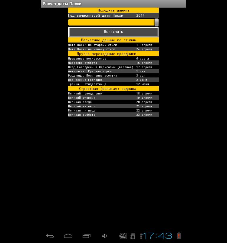 Дата Пасхи для Android