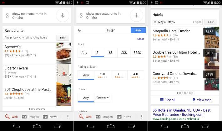 Поиск ресторанов в google now