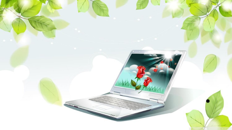 Ноутбук и розы