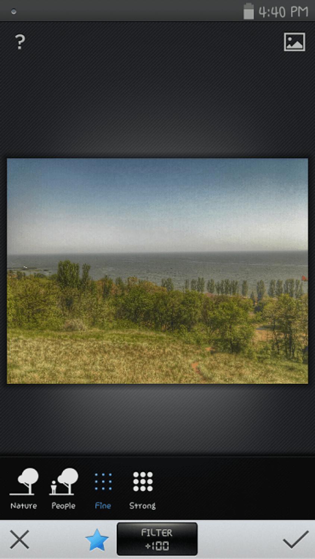 выбрать фильтр в Snapseed