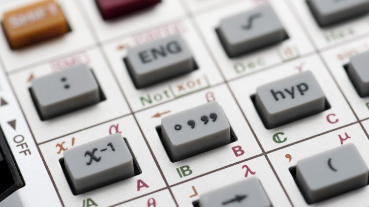 closup on the function buttons on a scientific calculator