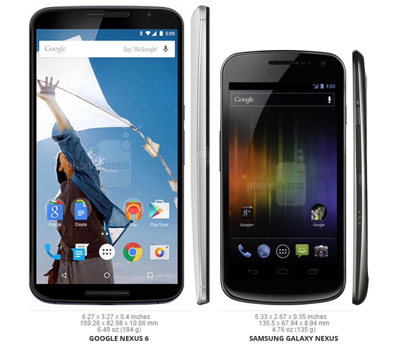 Сравнение размеров Nexus 6 и Galaxy Nexus