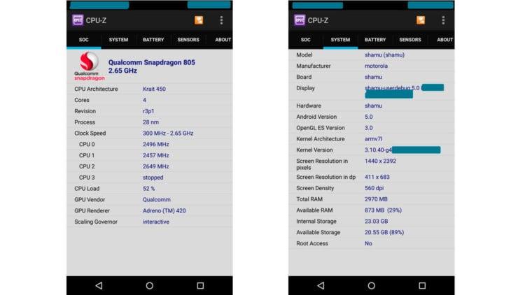 Характеристики Nexus 6