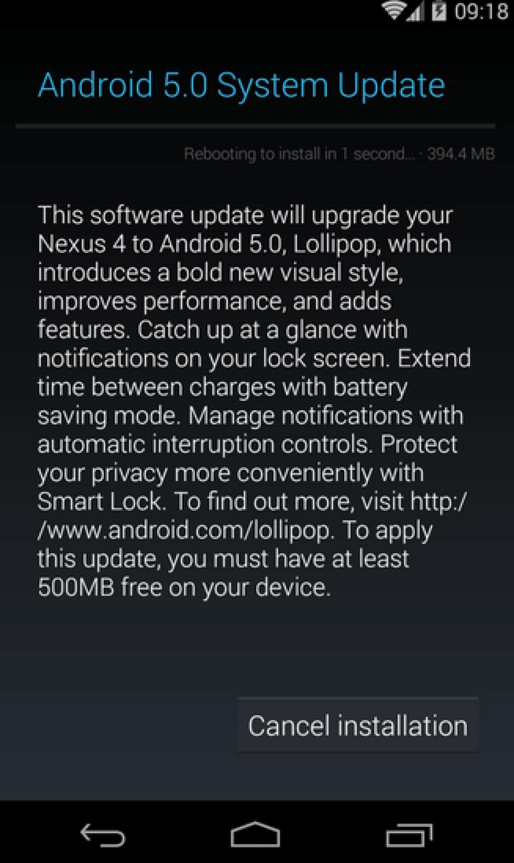 Nexus 4 Lolliop