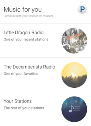 Pandora google now card