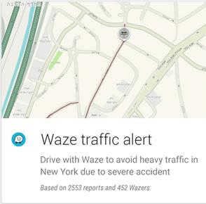 Waze google now card