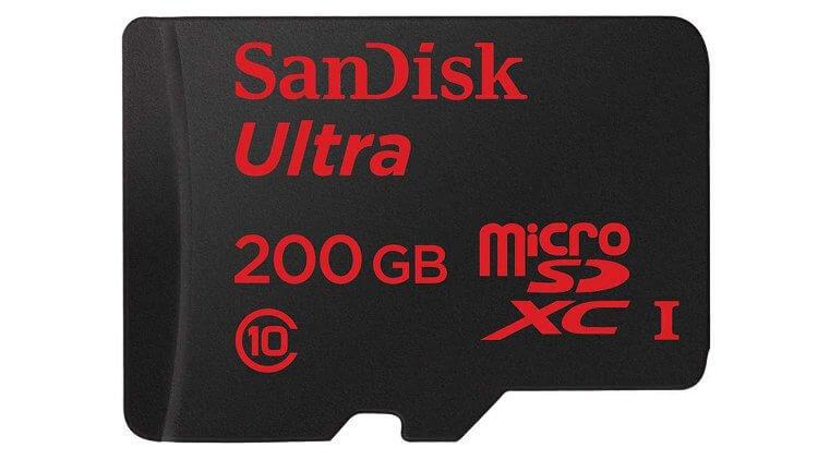 200-гигабайтная карта памяти microSD от Sandisk