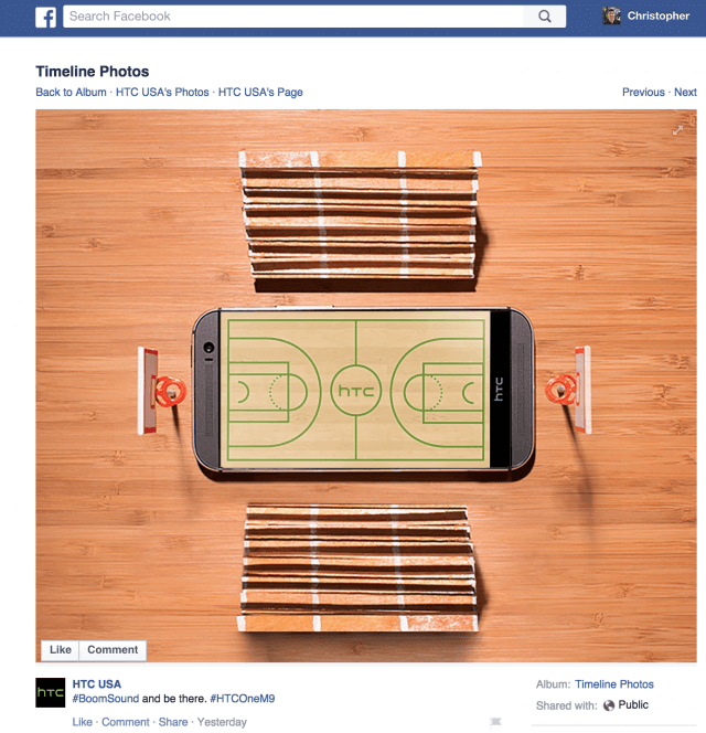HTC Facebook post
