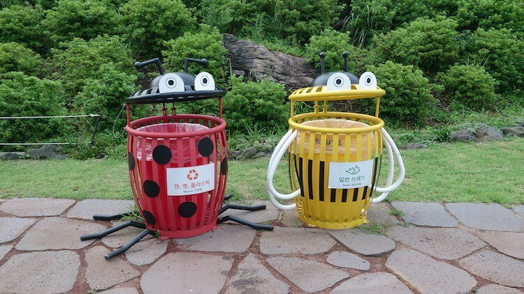 Recycling_bins_at_Ecoland,_Jeju,_South_Korea