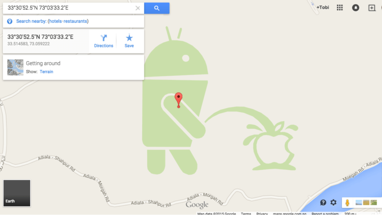 android and apple on google maps