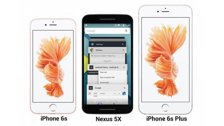Предположительно Nexus 5X в сравнении с iPhone 6s и Plus