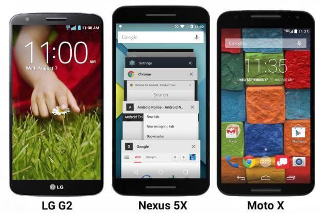 Предположительно Nexus 5X в сравнении с другими телефонами