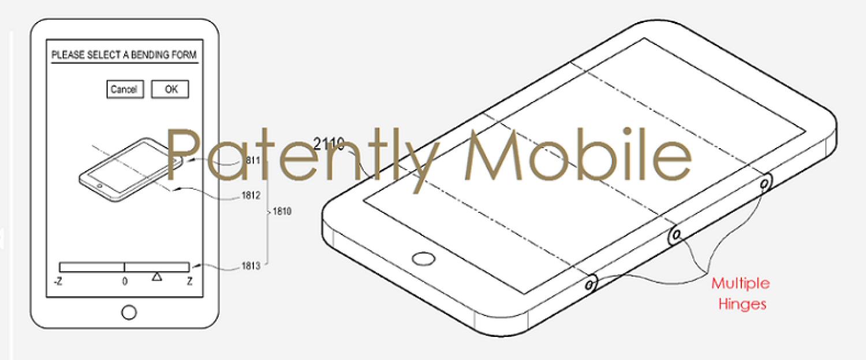 Гибкий телефон Samsung (иллюстрация к патенту)