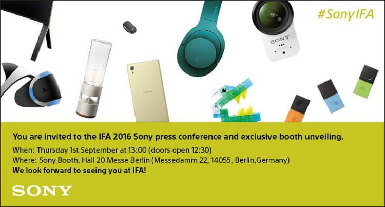 Так выглядит приглашение на презентацию Sony на IFA 2016