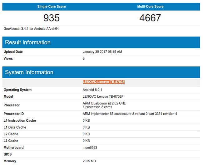 Lenovo Tab3 8 Plus в Geekbench