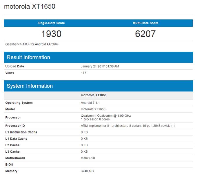 Motorola XT1650 в GeekBench