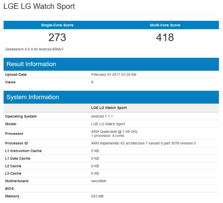 LG Watch Sport, возможно, «показали» в Geekbench свой 4-ядерный процессор