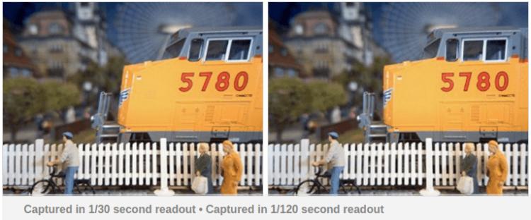 Изображения снятые при разной скорости считывания