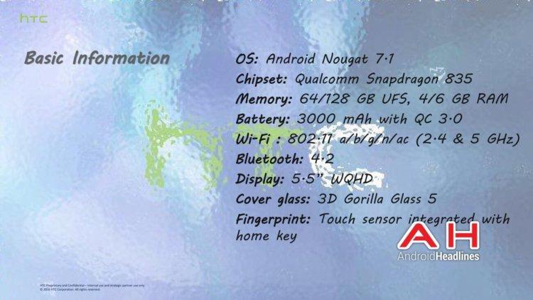 Возможные характеристики и функции HTC U (Ocean)