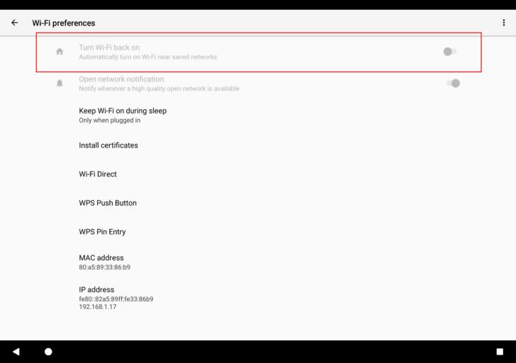 Функция Turn Wi-Fi back on в Android O