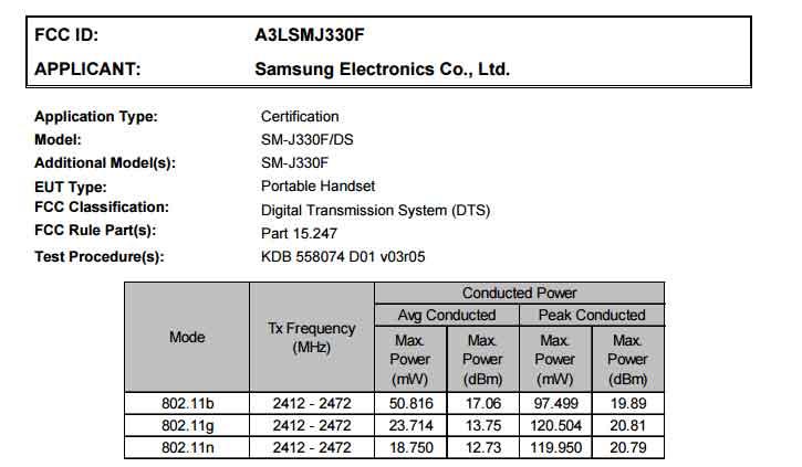 Galaxy J3 (2017) в FCC «показал» версии с поддержкой одной и двух SIM-карт