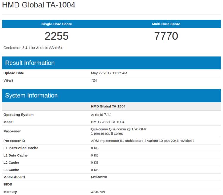 HMD Global TA-1004 (Nokia 9?) в Geekbench