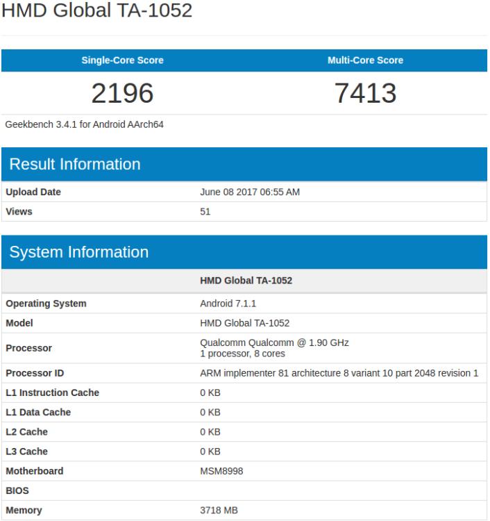 Geekbench мог показать Nokia 9 с 4-гигабайтным ОЗУ