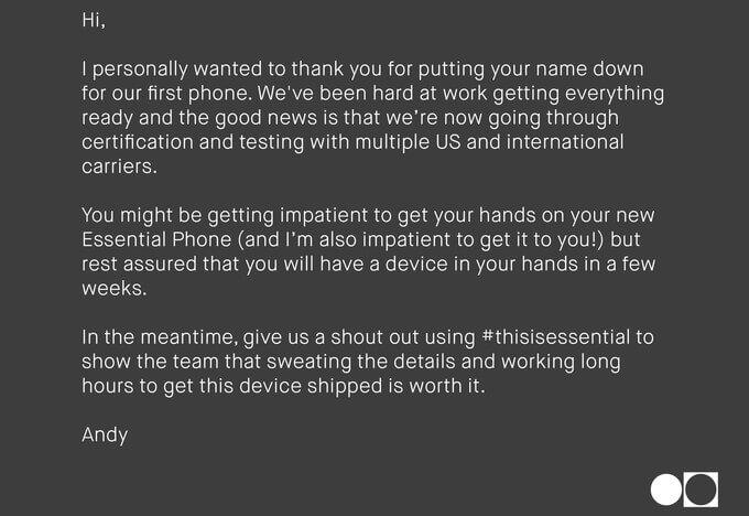 Энди Рубин разослал сообщение об Essential Phone