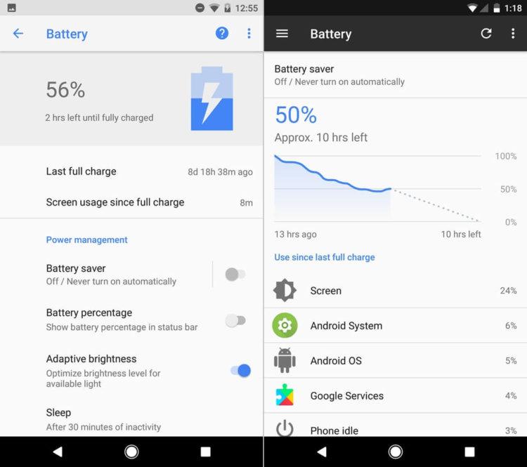 Android O и Android Nougat - визуальное сравнение