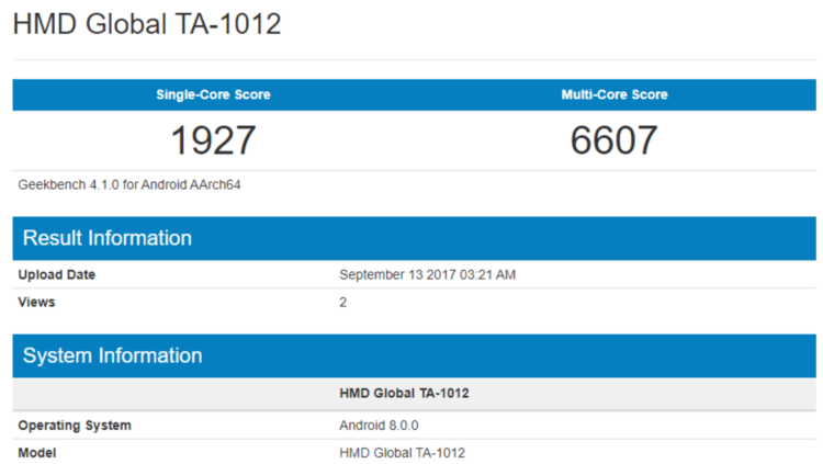 Nokia 8 в Geekbench с Android Oreo
