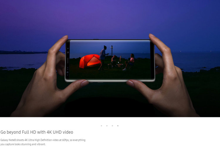 Galaxy Note 8 снимает видео 4K Ultra High Definition со скоростью 60 кадров в секунду