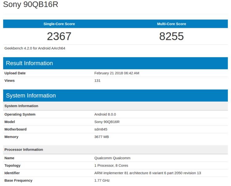 Sony Xperia в Geekbench