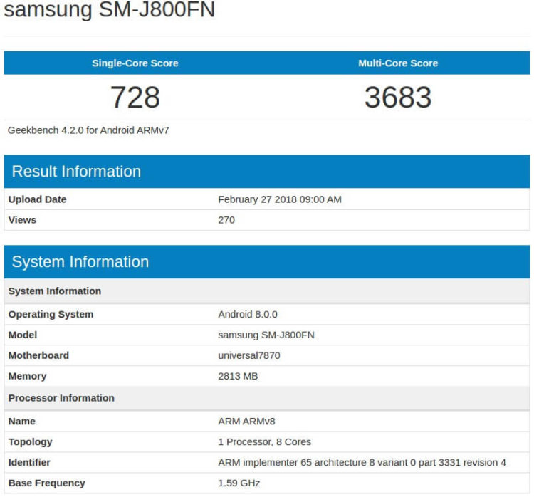 Модель SM-J800FN в Geekbench