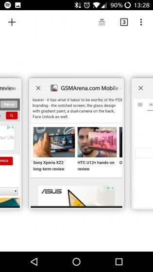 Google тестирует в Chrome для Android горизонтальный переключатель вкладок