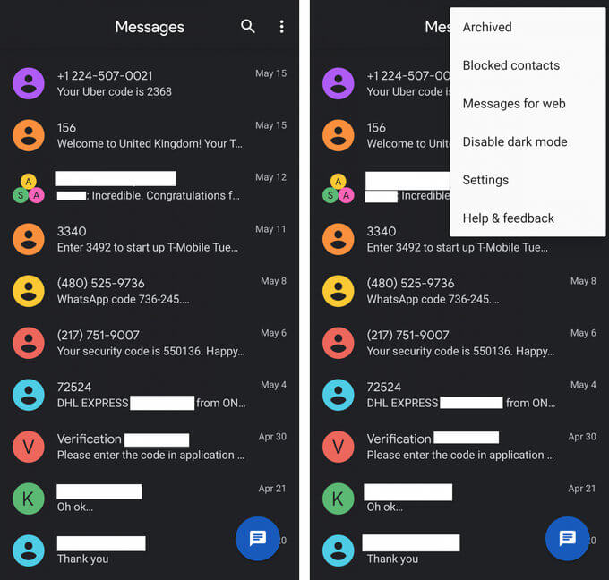 Google добавит в Android Messages темную тему