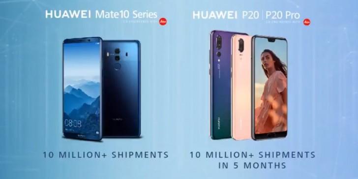 Huawei поставила более 20 миллионов флагманов P20 и Mate 10