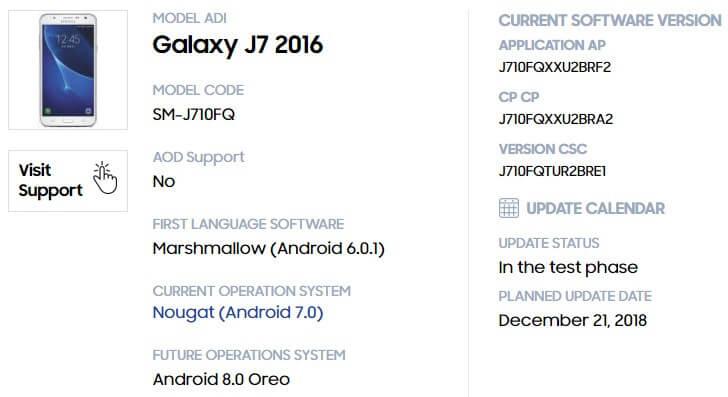 Samsung Galaxy J7 (2016) обновят до Oreo в декабре