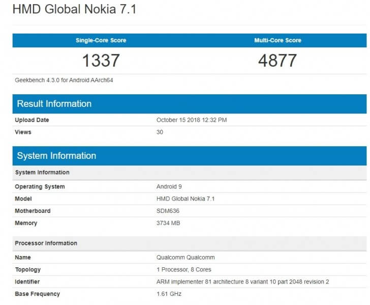 Nokia 7.1 с Android 9 Pie в Geekbench