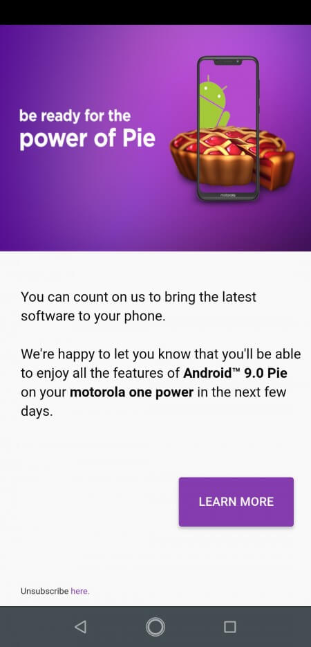 Motorola One Power получит Android 9 Pie в ближайшие дни