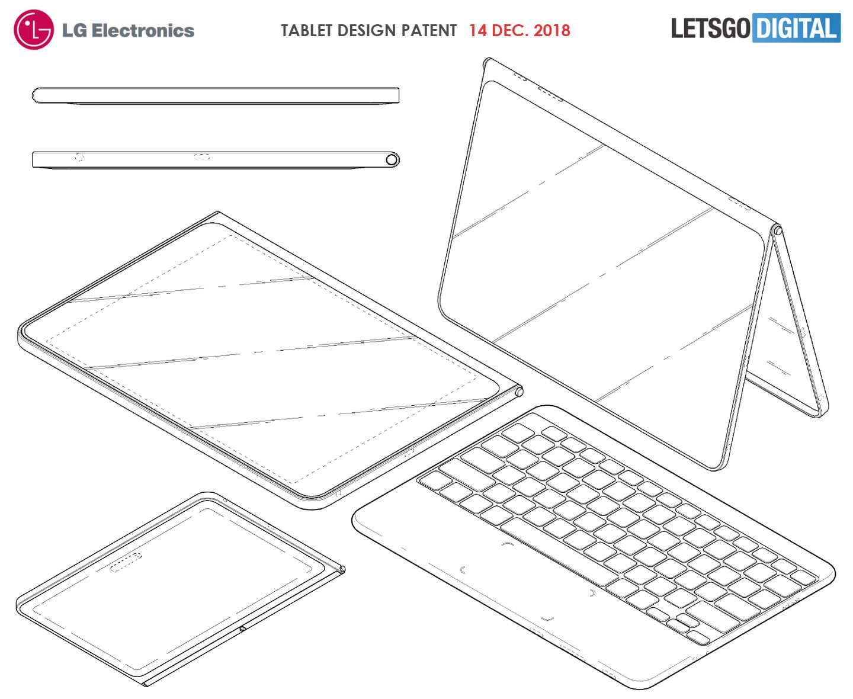 Безрамочный планшет LG с беспроводной клавиатурой