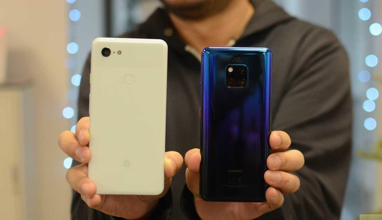 Смартфоны Google Pixel 3 и Huawei Mate 20 Pro
