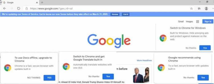 Google призывает пользователей Edge перейти на Chrome