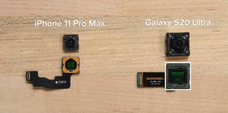 Сравнение матрицы iPhone 11 Pro Max и Galaxy S20 Ultra