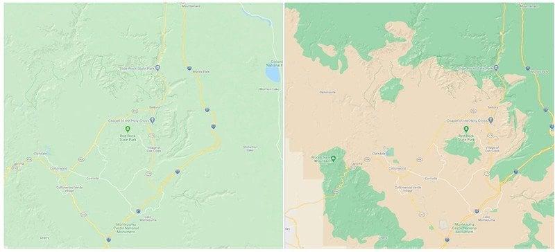 Рельеф в Google Maps