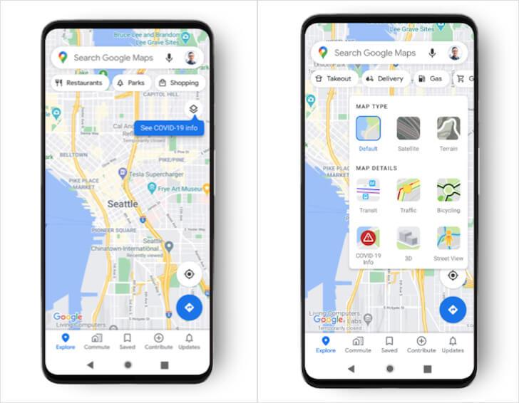 Как включить карту коронавируса в Google Maps на Android