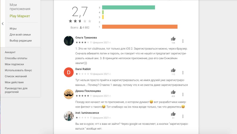 Отзывы в Google Play